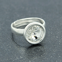 Wholesale Rivoli 8mm Silver Ring with Swarovski Crystal