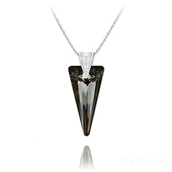 Collier Spike 28mm en Argent et Cristal Silver Night