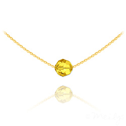 Collier Ras de Cou Perle 8mm en Vermeil et Cristal Sun Flower