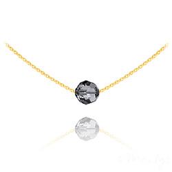 Collier Ras de Cou Perle 8mm en Vermeil et Cristal Silver Night