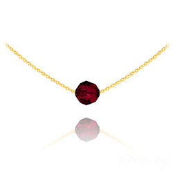 Collier Ras de Cou Perle 8mm en Vermeil et Cristal Rouge Siam