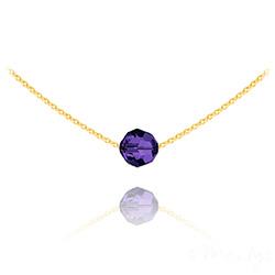 Collier Ras de Cou Perle 8mm en Vermeil et Cristal Purple Velvet