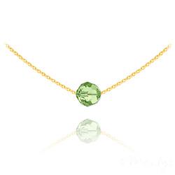 Collier Ras de Cou Perle 8mm en Vermeil et Cristal Vert Peridot