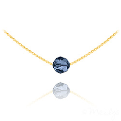 Collier Ras de Cou Perle 8mm en Vermeil et Cristal Bleu Montana