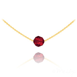 Collier Ras de Cou Perle 8mm en Vermeil et Cristal Rouge Light Siam