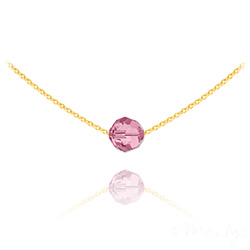 Collier Ras de Cou Perle 8mm en Vermeil et Cristal Light Rose