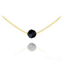 Collier Ras de Cou Perle 8mm en Vermeil et Cristal Noir