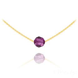 Collier Ras de Cou Perle 8mm en Vermeil et Cristal Fuchsia