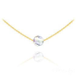 Collier Ras de Cou Perle 8mm en Vermeil et Cristal Aurore Boréale