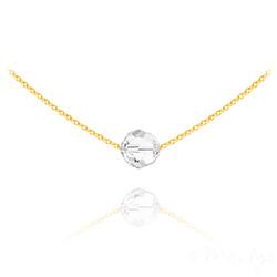 Collier Ras de Cou Perle 8mm en Vermeil et Cristal Blanc