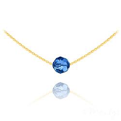 Collier Ras de Cou Perle 8mm en Vermeil et Cristal Capri Blue