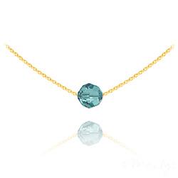 Collier Ras de Cou Perle 8mm en Vermeil et Cristal Bleu Zircon
