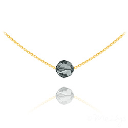 Collier Ras de Cou Perle 8mm en Vermeil et Cristal Black Diamond