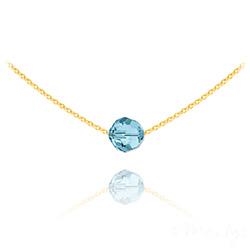 Collier Ras de Cou Perle 8mm en Vermeil et Cristal Bleu
