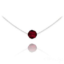 Collier Ras de Cou Perle 8mm en Argent et Cristal Rouge Siam