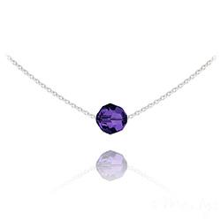 Collier Ras de Cou Perle 8mm en Argent et Cristal Purple Velvet