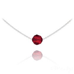Collier Ras de Cou Perle 8mm en Argent et Cristal Rouge Light Siam