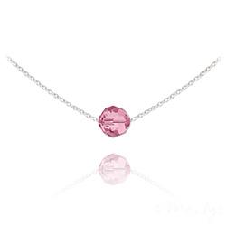 Collier Ras de Cou Perle 8mm en Argent et Cristal Light Rose
