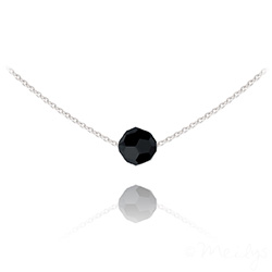 Collier Ras de Cou Perle 8mm en Argent et Cristal Noir