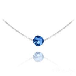 Collier Ras de Cou Perle 8mm en Argent et Cristal Capri Blue