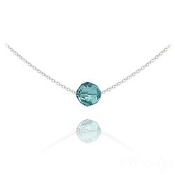 Collier Ras de Cou Perle 8mm en Argent et Cristal Bleu Zircon