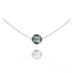 Collier Ras de Cou Perle 8mm en Argent et Cristal Black Diamond