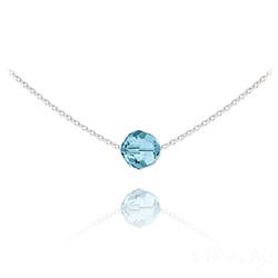 Collier Ras de Cou Perle 8mm en Argent et Cristal Bleu