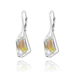 Boucles d'Oreilles Mini De-Art en Argent et Cristal Aurore Boréale