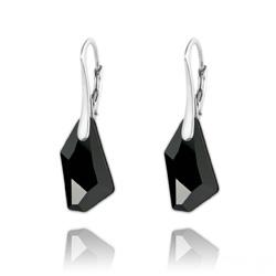 Boucles d'Oreilles Mini De-Art en Argent et Cristal Noir