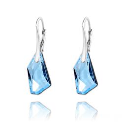 Boucles d'Oreilles Mini De-Art en Argent et Cristal Bleu