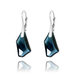 Boucles d'Oreilles Mini De-Art en Argent et Cristal Bleu Montana