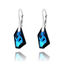 Boucles d'Oreilles Mini De-Art en Argent et Cristal Bleu Bermude