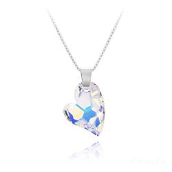 Collier Coeur Design en Argent et Cristal Aurore Boréale