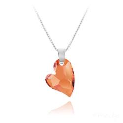 Collier Coeur Design en Argent et Cristal Astral Pink