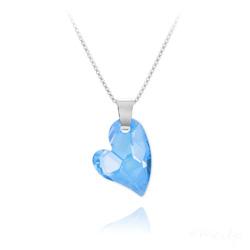 Collier Coeur Design en Argent et Cristal Bleu
