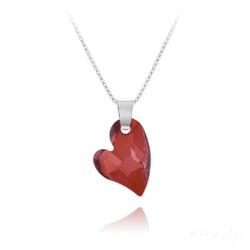 Collier Coeur Design en Argent et Cristal Rouge Magma