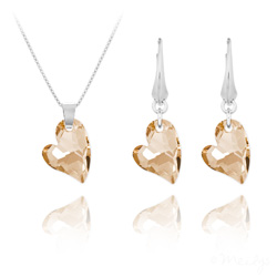 Parure Coeur Design en Argent et Cristal Champagne