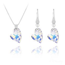 Parure Coeur Design en Argent et Cristal Aurore Bor�ale