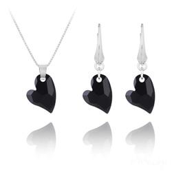 Parure Coeur Design en Argent et Cristal Noir