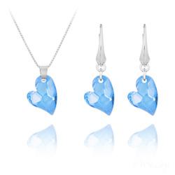 Parure Coeur Design en Argent et Cristal Bleu