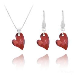 Parure Coeur Design en Argent et Cristal Rouge Magma