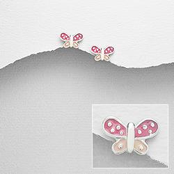 Boucles d'Oreilles en Argent Papillon Rose 10mm