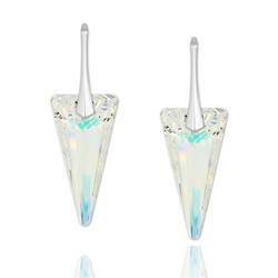 Boucles d'Oreilles Spike 28mm en Argent et Cristal Aurore Boréale