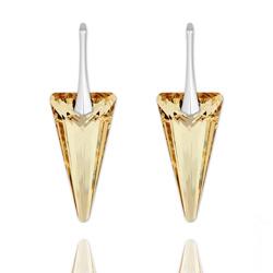 Boucles d'Oreilles Spike 28mm en Argent et Cristal Champagne