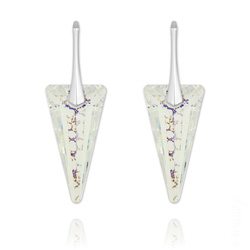 Boucles d'Oreilles Spike 28mm en Argent et Cristal White Patina