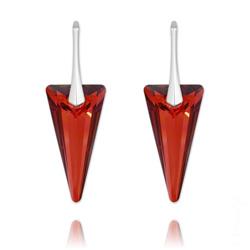 Boucles d'Oreilles Spike 28mm en Argent et Cristal Rouge Magma