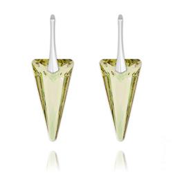 Boucles d'Oreilles Spike 28mm en Argent et Cristal Luminous Green