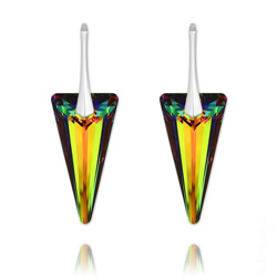 Boucles d'Oreilles Spike 28mm en Argent et Cristal Vitrail Medium