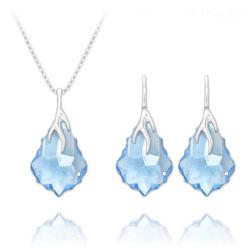 Parure Éclair Baroque en Argent et Cristal Bleu