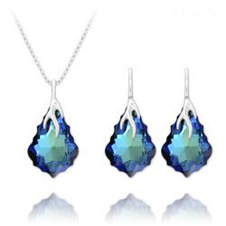 Parure Éclair Baroque en Argent et Cristal Bleu Bermude